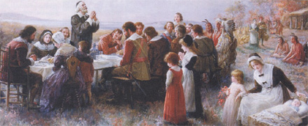 Le repas de Thanksgiving de 1621.