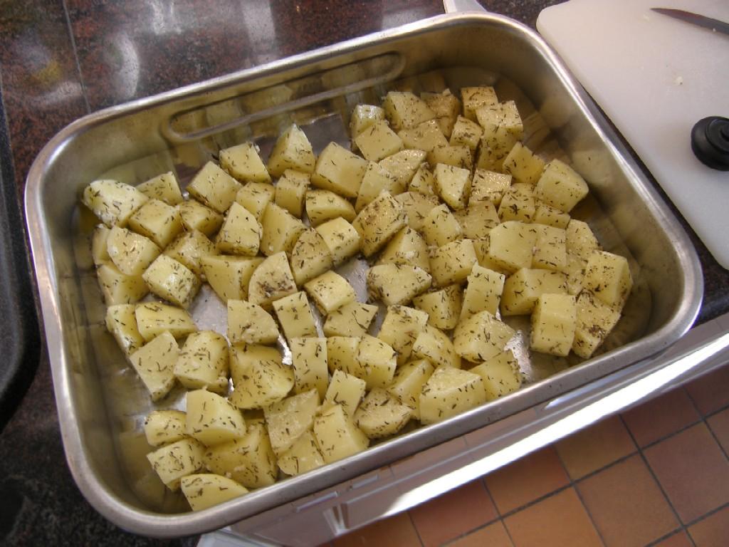 Pommes de terre rôties au thym.