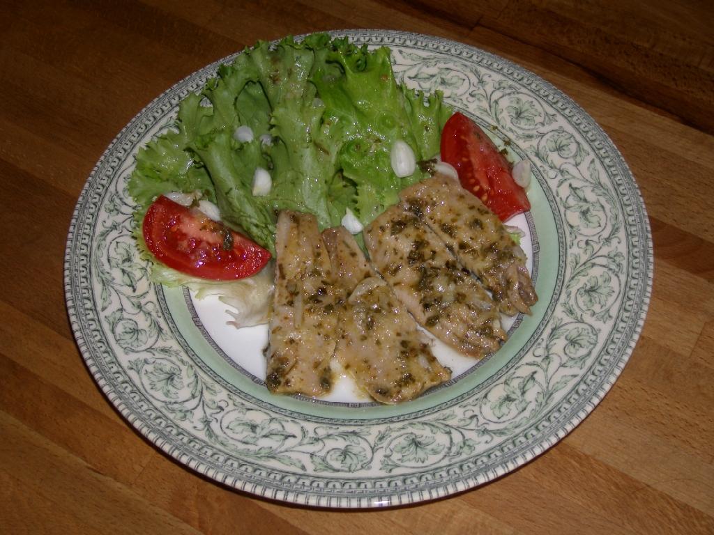 Sardines tièdes au gingembre et au vin blanc.