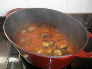 On ajoute les rondellles d'aubergine...