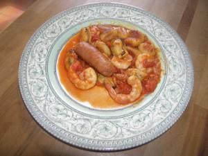 Gnocchi en compagnie de leurs copines crevettes et moules, et de petits chorizo frais.