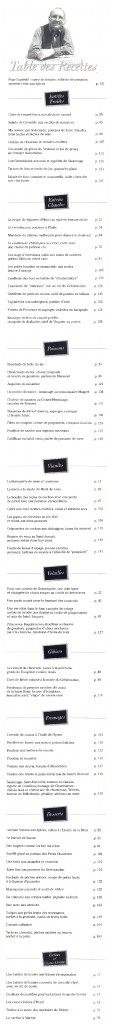 La Table des recettes des Petites nouvelles de ma cuisine, de Jean-Pierre Barus, octobre 1999, éditions Printalp.
