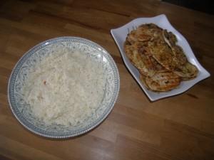 Mincerettes de porc sauce thaï et son riz d'accompagnement.
