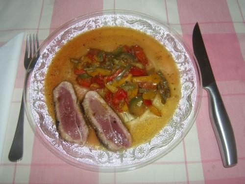 Magrets de canard aux poivrons la recette du dredi - Peut on donner du riz cuit aux oiseaux ...